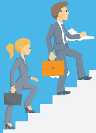 business man woman climbing up stairs clipart